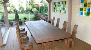 10. Set of furniture. Oak. Table 75 x 300 x 150, chair h 90.