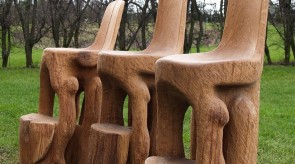 14. Bar chairs. Oak. h 117.