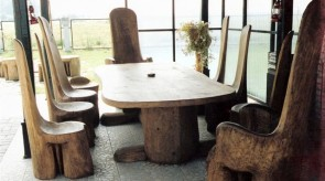 2. Set of furniture. Oak. Table 75 x 180 x 120, chair h 130.