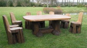 8. Set of furniture. Oak. Table 60 x 160 x 120, chair h 90.