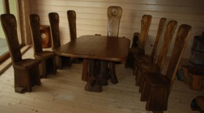 9. Set of furniture. Oak. Table 75 x 180 x 120, chair h 130.