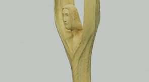 12. Flying angel. Poplar. h 140+57 ( pedestal ).