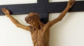18. Crucifix. Alter in a chapel. Torso.